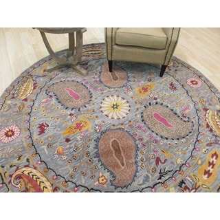 Hand-tufted Wool Blue Transitional Floral Paisley Rug (6' Round)