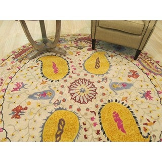Eastern Oriental Rug Center Hand Tufted Wool Ivory Paisley Rug (6' Round)