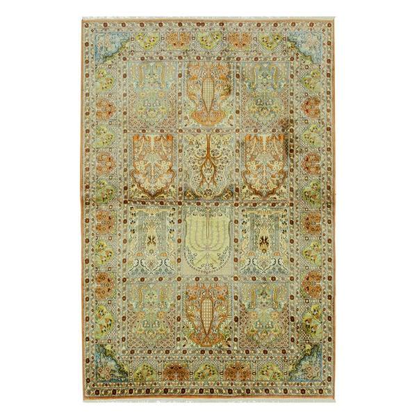 Traditional Kashmir Silk Handmade Hand Knotted Persian: Hand-knotted Silk Traditional Oriental Kashmir Rug (4' X 6
