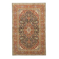 Hand-knotted Manchester Wool Navy Traditional Oriental Kashan Rug (4'9 x 7'5)