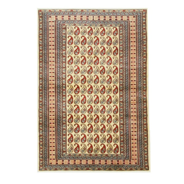 Hand-knotted Wool Ivory Traditional Oriental Pak-Pasley Rug (4' x 6')