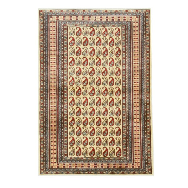 Hand-knotted Wool Ivory Traditional Oriental Pak-Pasley Rug - 4' x 6'