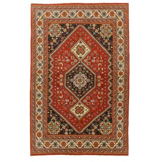 Hand-knotted Wool Red Traditional Oriental Abadeh Rug (4'1 x 6'5)