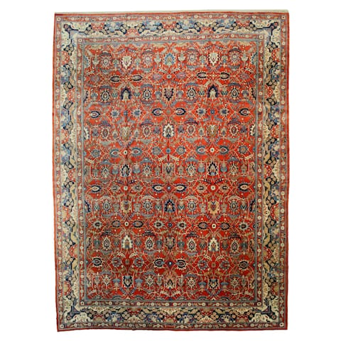 Hand Knotted Manchester Wool Rust Traditional Oriental Fine Antique Tehran Rug 13 X