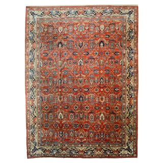 Hand-knotted Manchester Wool Rust Traditional Oriental Fine Antique Tehran Rug (13' x 19')|https://ak1.ostkcdn.com/images/products/12138478/P18994843.jpg?_ostk_perf_=percv&impolicy=medium