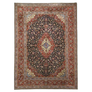 Eastern Oriental Rug Center Hand Knotted Wool Navy Kashan Rug (9'9 x 13'7)