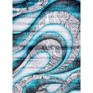 Persian Rugs Turquoise/Grey/White/Black Polypropylene Modern Graphic Area Rug (5'2 x 7'2)