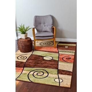 Persian Rugs Orange/Beige/Brown/Green/Ivory Polypropylene Modern Area Rug (5'2 x 7'2)