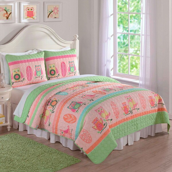 Laura Hart Kids Owl Stripe 3-piece Quilt Set - Free Shipping Today ... : laura hart quilts - Adamdwight.com