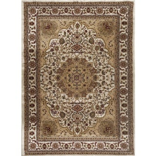 Persian Rugs Cream/Ivory/Beige/Burgundy Oriental Traditional Area Rug (5' 2 x 7' 2)