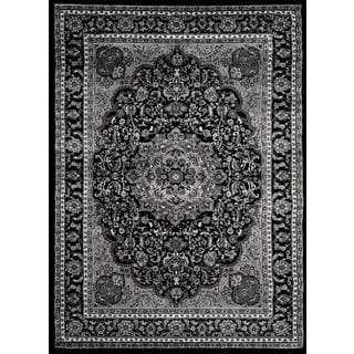 Persian Rugs Black/Grey/White Polypropylene Oriental Traditional Area Rug (5'2 x 7'2)