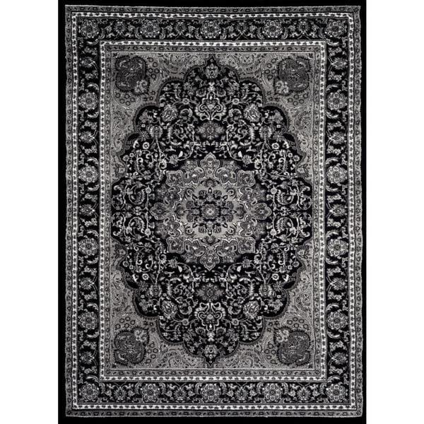 Persian Rugs Black Grey White Polypropylene Oriental