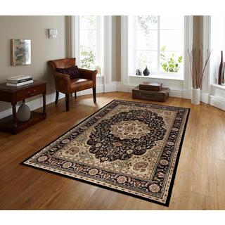 Persian Rugs Black/Burgundy/Ivory/Beige Polypropylene Oriental Traditional Area Rug (5'2 x 7'2)