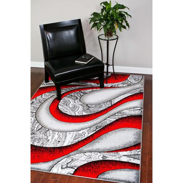 Shop Persian Rugs Red Grey White Black Polypropylene Modern Graphic