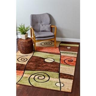 Persian Rugs Orange/Beige/Brown/Green/Ivory Polypropylene Modern Area Rug (7'10 x 10'6)