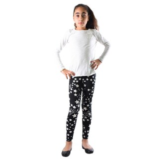 Dinamit Girls' Black and White Star Printed Leggings