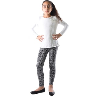 Dinamit Girl's Black, White Nylon, Spandex Printed Leggings