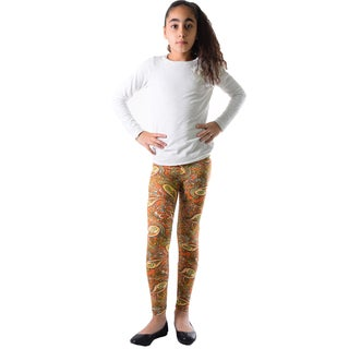 Girls Multicolored Nylon and Spandex Paisley Printed Leggings