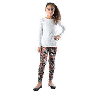 Dinamit Girls' Multicolor Nylon/Spandex Floral Paisley Printed Leggings