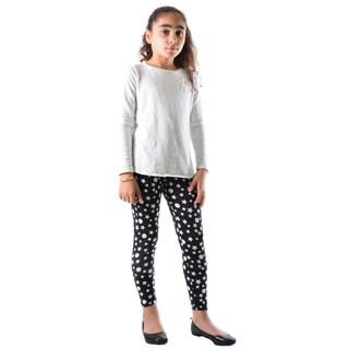 Dinamit Girls' Black/White Nylon/Spandex Star Printed Legging