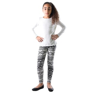 Dinamit Girls' Black and White Nylon and Spandex Printed Leggings