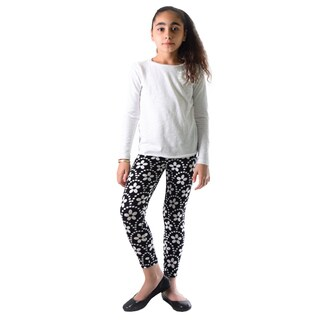 Dinamit Girls' Black and White Flower Printed Leggings