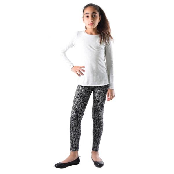 Dinamit Girls Black/White Nylon/Spandex Printed Legging