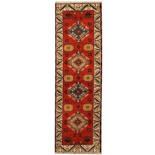 Herat Oriental Indo Hand-knotted Tribal Kazak Wool Runner (2'1 x 6'8)
