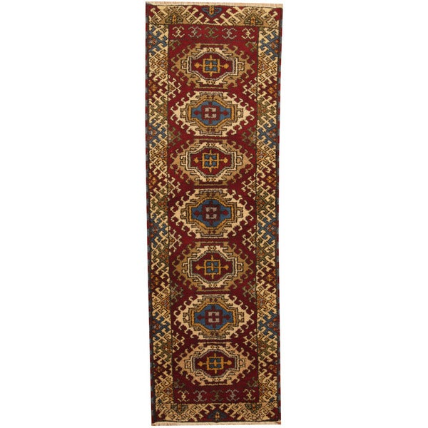 Herat Oriental Indo Hand-knotted Tribal Kazak Wool Runner (2'1 x 6'8) - 2'1 x 6'8
