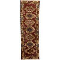 Herat Oriental Indo Hand-knotted Tribal Kazak Wool Runner - 2'1 x 6'8