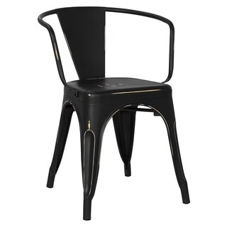 Poly and Bark Trattoria Distressed Matte Metal Dining Arm Chair