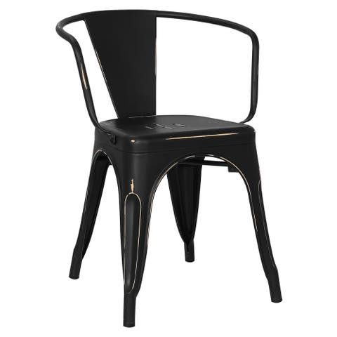 EdgeMod Trattoria Distressed Matte Metal Dining Arm Chair