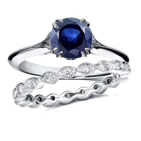 Annello by Kobelli 14k White Gold 1ct Blue Sapphire and 2/5ct TDW Diamond Floral Antique Eternity Ba