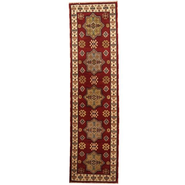 Handmade Herat Oriental Indo Tribal Kazak Wool Runner - 2'9 x 10' (India)