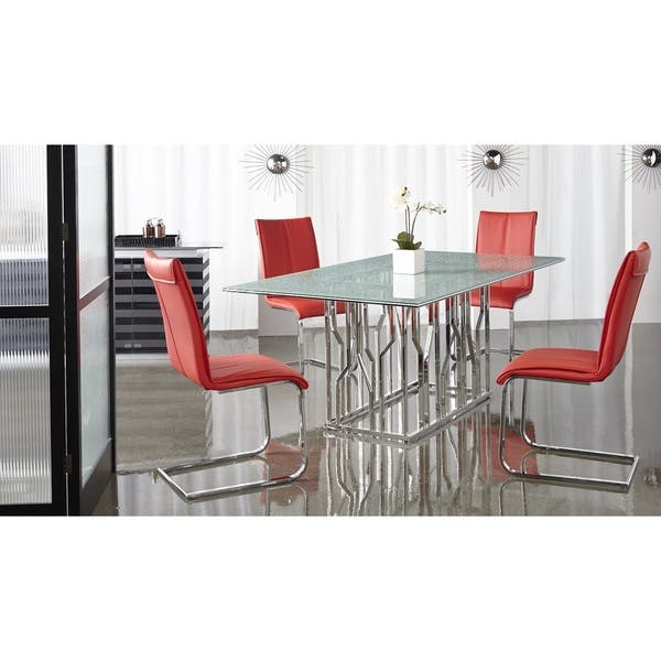 Super Shop Modern Life Mack Red Faux Leather Chrome Dining Chairs Camellatalisay Diy Chair Ideas Camellatalisaycom