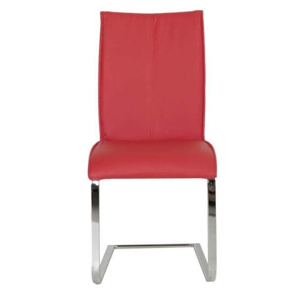 Modern Life Mack Red Faux Leather Chrome Dining Chairs
