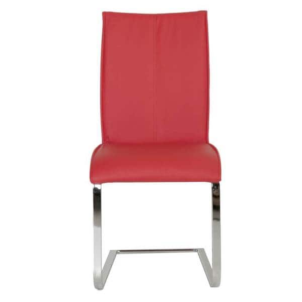 Wondrous Shop Modern Life Mack Red Faux Leather Chrome Dining Chairs Gmtry Best Dining Table And Chair Ideas Images Gmtryco