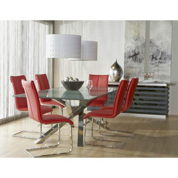 Magnificent Shop Modern Life Mack Red Faux Leather Chrome Dining Chairs Camellatalisay Diy Chair Ideas Camellatalisaycom