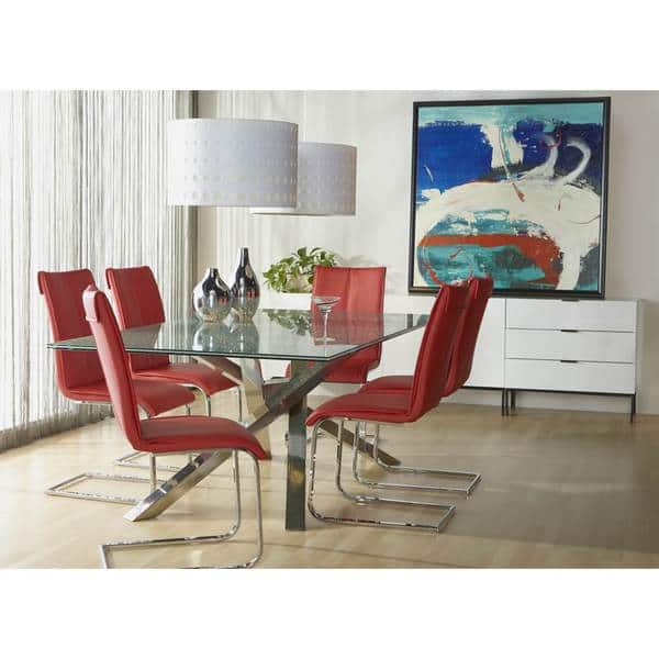 Excellent Shop Modern Life Mack Red Faux Leather Chrome Dining Chairs Camellatalisay Diy Chair Ideas Camellatalisaycom