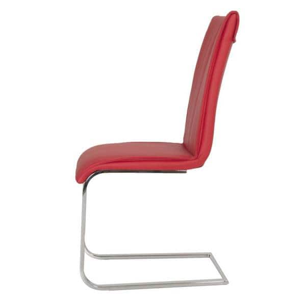 Pleasant Shop Modern Life Mack Red Faux Leather Chrome Dining Chairs Camellatalisay Diy Chair Ideas Camellatalisaycom
