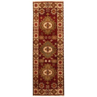 Herat Oriental Indo Hand-knotted Tribal Kazak Wool Runner (2'2 x 6'5)
