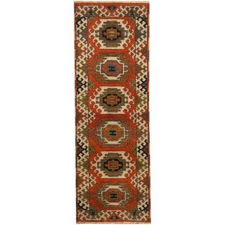 Herat Oriental Indo Hand-knotted Tribal Kazak Wool Runner (2'3 x 6'6)