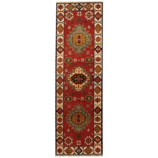 Herat Oriental Indo Hand-knotted Tribal Kazak Wool Runner (2'2 x 6'10)