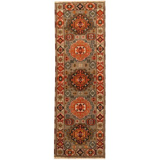 Herat Oriental Indo Hand-knotted Tribal Kazak Wool Runner (2'2 x 6'8)