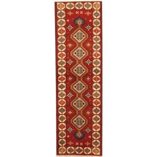 Herat Oriental Indo Hand-knotted Tribal Kazak Wool Runner (2' x 6'8)