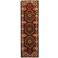 Herat Oriental Indo Hand-knotted Tribal Kazak Wool Runner (2'2 x 6'9) - 2'2 x 6'9