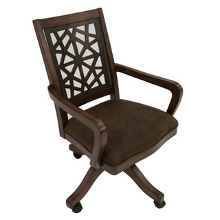 LS Distressed Mahogany Birch/Suede Caster Chair