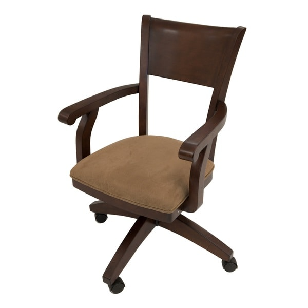 Shop Ph Distressed Mahogany Birch Suede Caster Chair