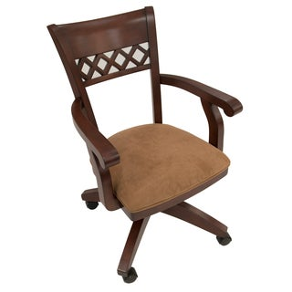 Horizon Distressed Mahogany Birch/Suede Caster Chair
