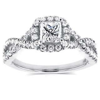 Annello by Kobelli 14k White Gold 1ct TDW Princess Diamond Halo Crossover Engagement Ring